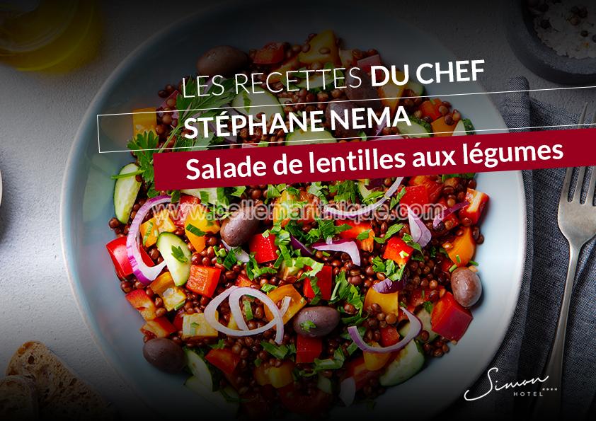 Salade de lentilles aux agrumes, recette chef Stéphane Nema