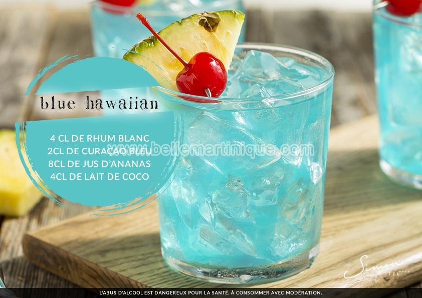 Cocktail - Blue Hawaiian - Rhum - Martinique Antilles Caraibes